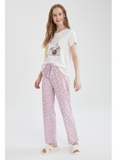 DeFacto Relax Fit Baskılı Kısa Kollu Pijama Takımı Mor
